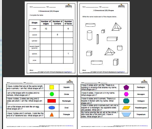 Properties Of 2d And 3d Shapes Skills Workshop