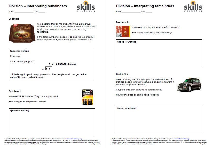 Division Interpreting Remainders Skills Workshop