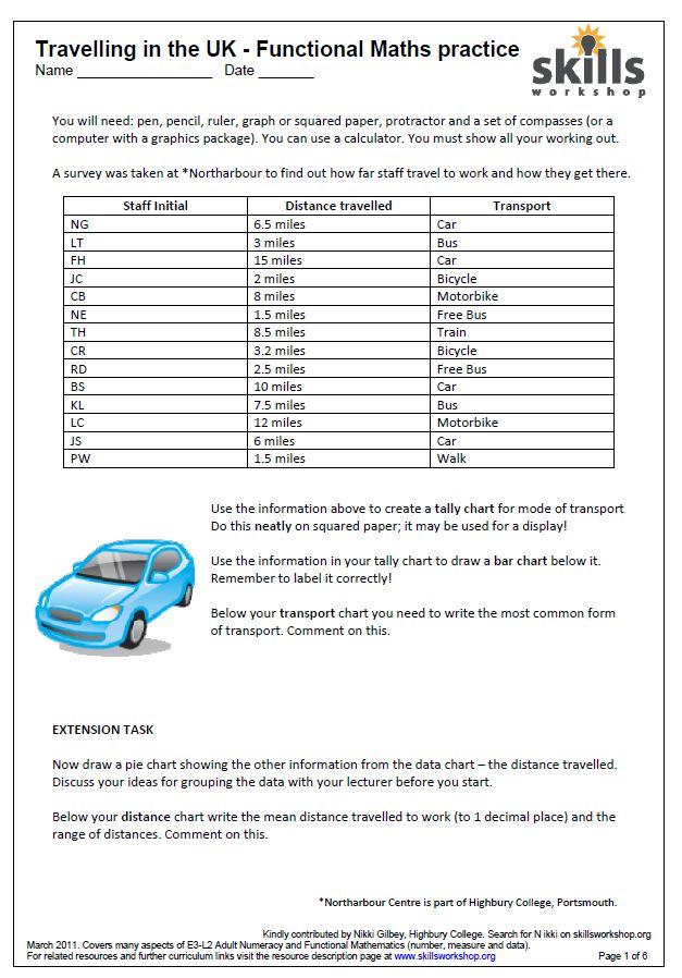 Ungewöhnlich Mileage Charts Maths Worksheets Bilder - Mathematik ...