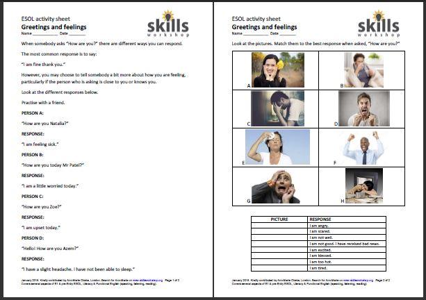 Greetings And Feelings Esol Worksheet Skillsworkshop