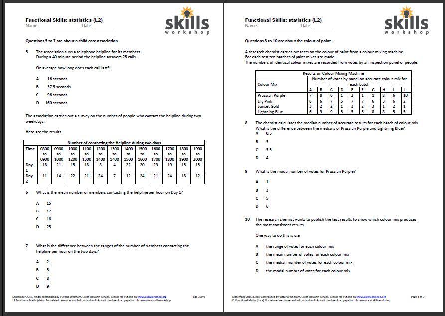 functional maths l2 statistics multiple choice worksheet skillsworkshop. Black Bedroom Furniture Sets. Home Design Ideas
