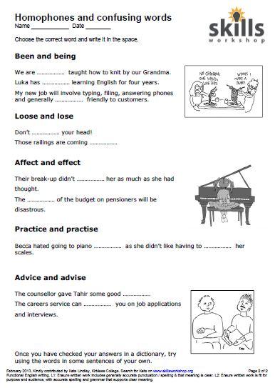Homophones And Confusables Worksheet Skillsworkshop