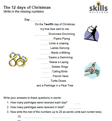 Christmas Spelling Words.12 Days Of Christmas Spelling Numbers 1 To 20 Skills