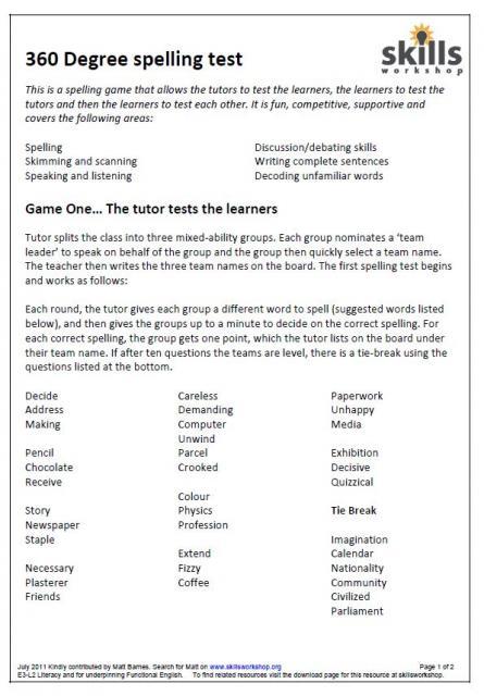 360 degree spelling test