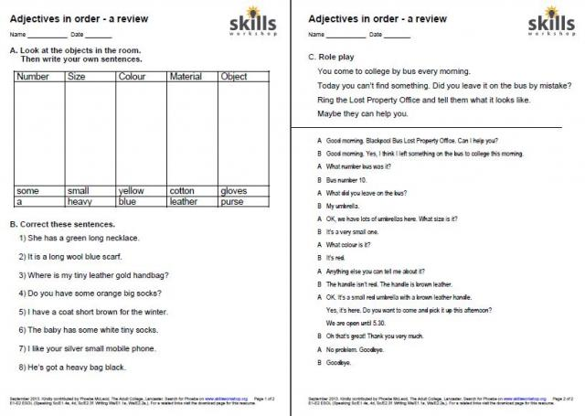 ESOL Ws/E2.2a | Skills Workshop