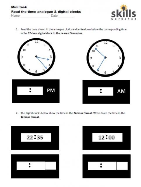 Read The Time Analogue And Digital Clocks Skills Workshop