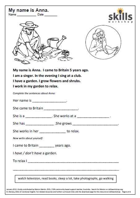 write about yourself esl worksheets for beginners