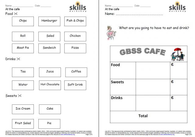 math worksheet : numeracy resources  skills workshop : Math Cafe Worksheets