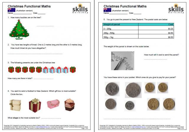 E1-2 Christmas Maths (Australian currency version) | Skills Workshop