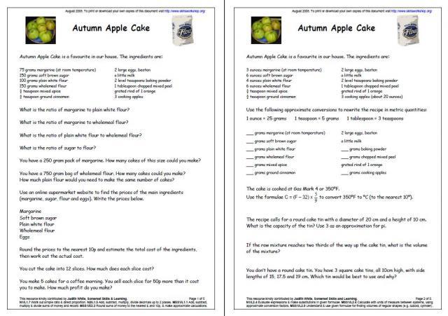 Number Names Worksheets kitchen measurement worksheets : Collection of Recipe Conversion Worksheet - Bloggakuten