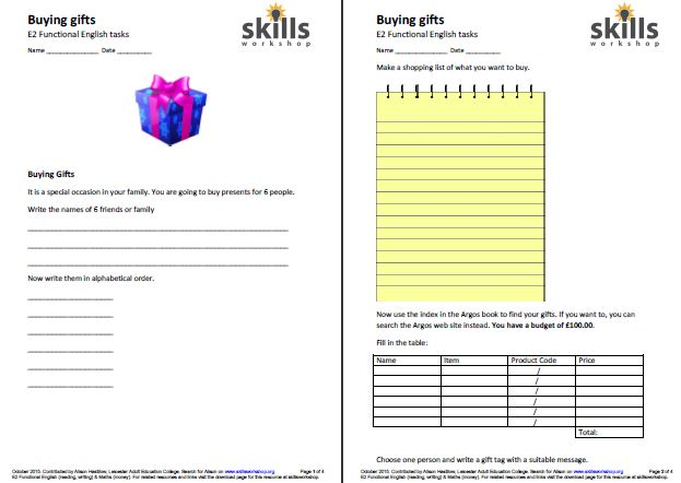 Worksheet Independent Living Skills Worksheets independent living skills workshop two differentiated functional english tasks that involves a number of reading and writing with bit maths thrown in