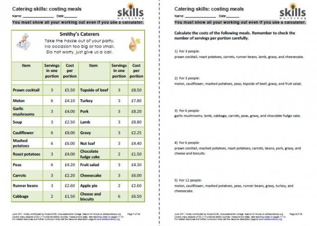 math worksheet : functional maths for catering  skills workshop : Functional Maths Worksheets