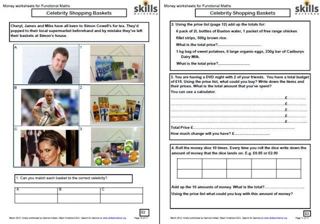 math worksheet : numeracy resources  skills workshop : Math Shopping Worksheets