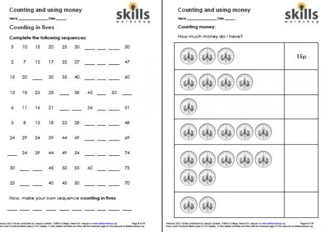 Pre School Worksheets counting money skills worksheets Free – Maths Skills Worksheets