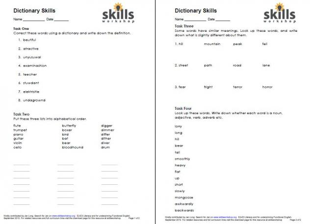Printables Dictionary Skills Worksheets dictionary skills workshop i have used it a lot particularly with entry students to get them using and practise the different