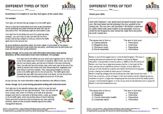 types of essay worksheets
