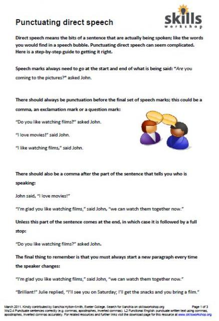 Punctuating Direct Speech Worksheet: punctuating direct speech skills workshop,