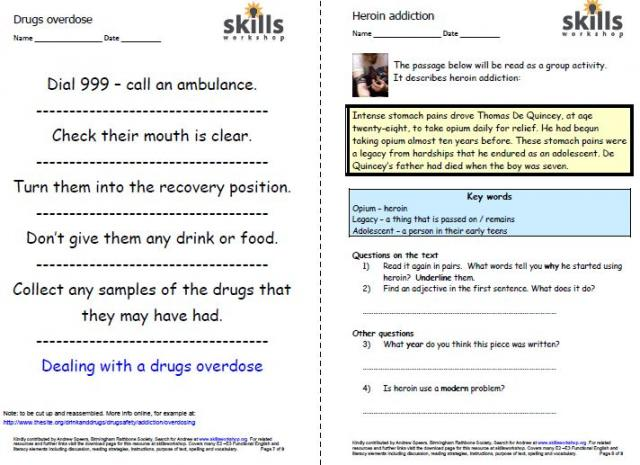 Printables Drug Education Worksheets lesson plan skills workshop everything you need for embedding literacy functional english into a teaching session that looks at drugs