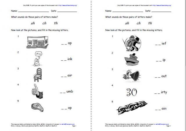 All Worksheets free vowel digraph worksheets : Consonant digraphs - ch, th, sh. | Skills Workshop