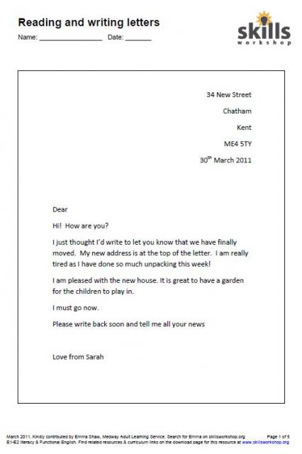 reading and writing letters e2 functional english