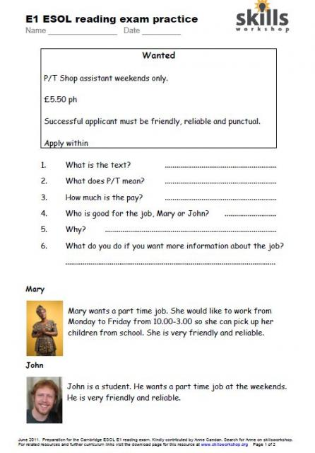 Entry Level Award in ESOL Skills for Life (Writing) (Entry 1)