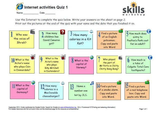 Resource type: ICT task sheet,