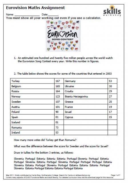 e3 eurovision functional maths skills workshop. Black Bedroom Furniture Sets. Home Design Ideas