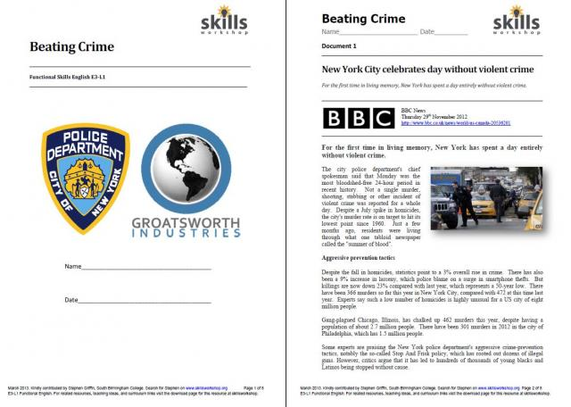 Worksheet Functional Reading Worksheets reading skills workshop an e3 l1 functional resource modelled on cg assessments the activities are based around two documents one from bbc news website and