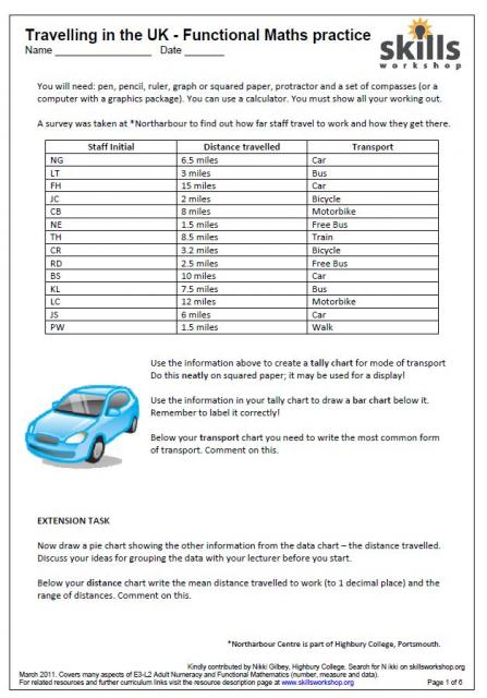 math worksheet : charts  graphs  skills workshop : Level 2 Maths Worksheets