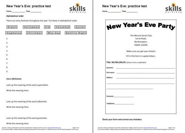 New Year\'s Eve E3 English tasks   Skills Workshop
