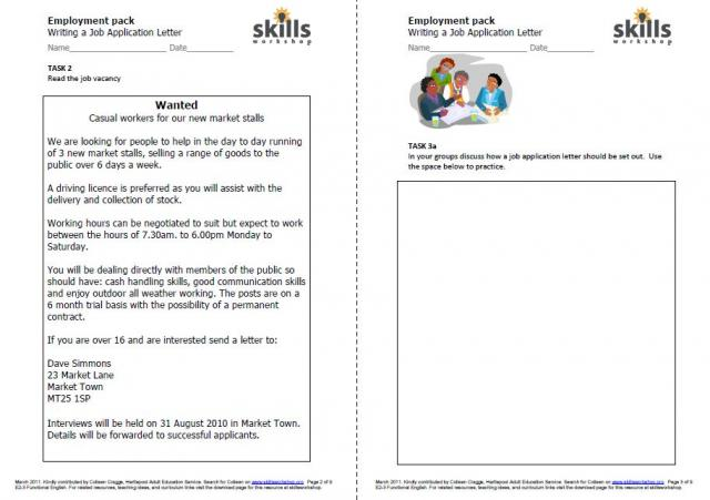 Printables Employment Skills Worksheets contextual resources skills workshop fully mapped integrated set of tasks covering all aspects functional english reading writing and communication are based on a job