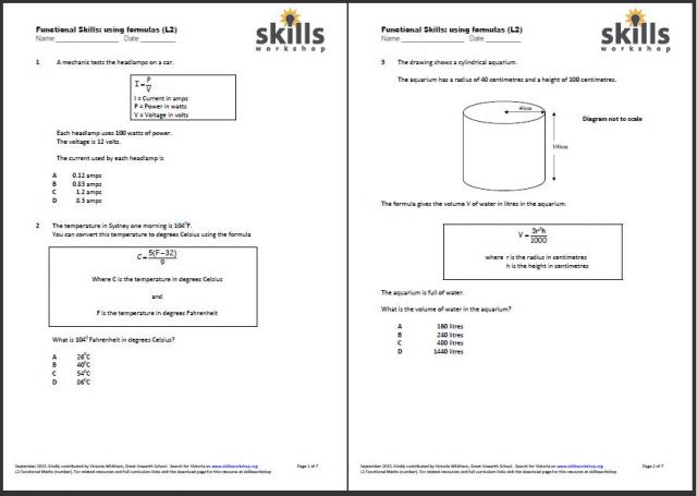 math worksheet : functional maths l2 formulas  multiple choice worksheet  skills  : Functional Math Worksheets