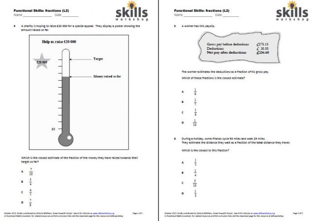 Functional Maths L2 Fractions multiple choice worksheet – Functional Maths Worksheets