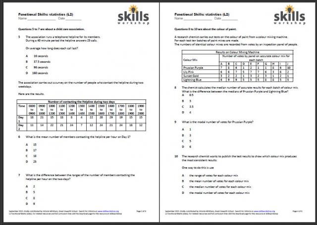 math worksheet : functional maths  data handling  skills workshop : Level 2 Maths Worksheets