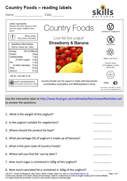 Worksheet Food Label Worksheets country foods understanding food labels skills workshop an interesting worksheet that covers both literacy and numeracy best used with interactive label on the uk government eatwell site