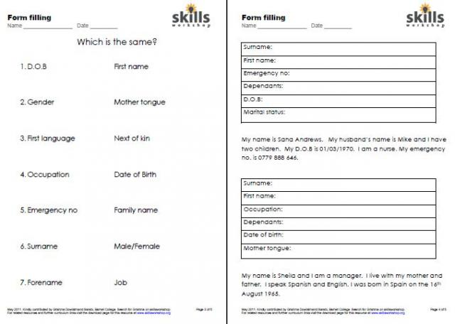 Worksheet Esol Worksheets esol resources skills workshop form filling