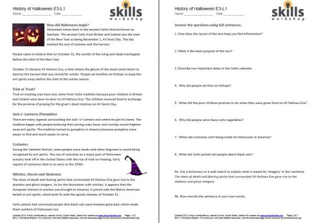 History Of Halloween Differentiated Reading Comprehension Skills