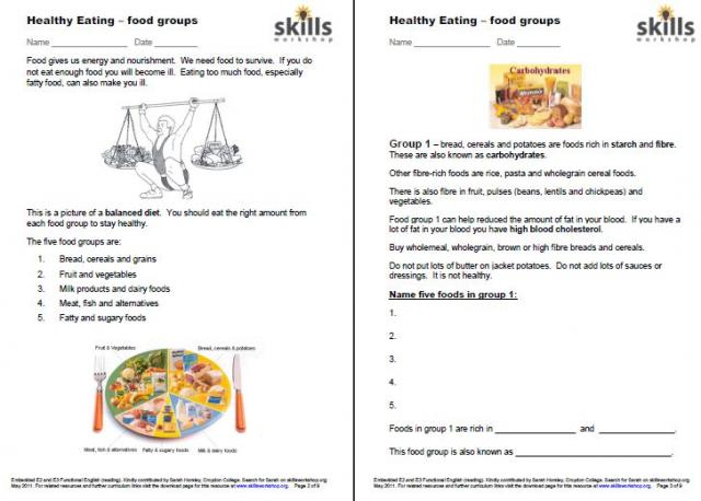 Printables Functional Reading Worksheets functional reading worksheets hypeelite healthy eating embedded english skills workshop
