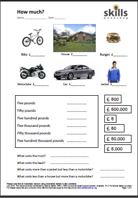 math worksheet : numeracy resources  skills workshop : Life Skills Maths Worksheets