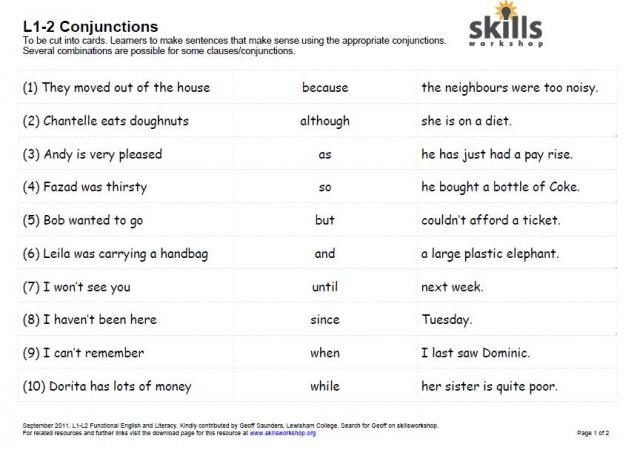 Sentence Structure And Conjunction Cards on Functional Skills L2 Maths Worksheets