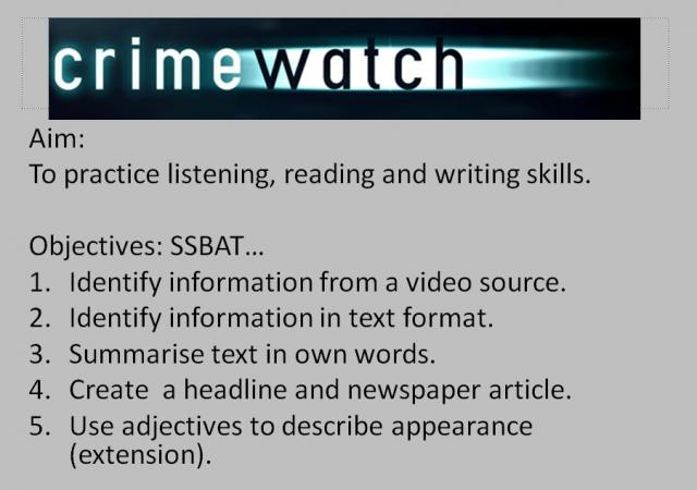 L1 Crimewatch Functional English lesson
