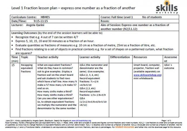 Lesson plan express one number as a fraction of another – Cosmetology Worksheets