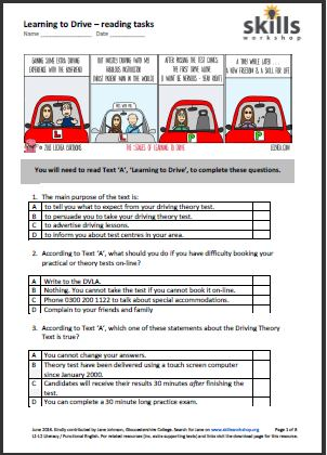 Printables Functional Reading Worksheets functional english reading skills workshop a set of three different texts and comprehension activities based on the theme learning to drive aimed at level 1 learners who may be working