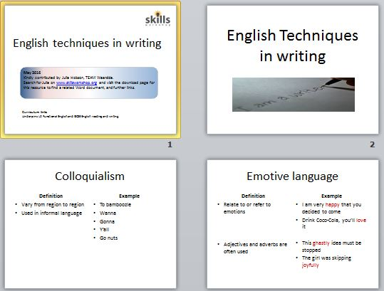 english writing techniques
