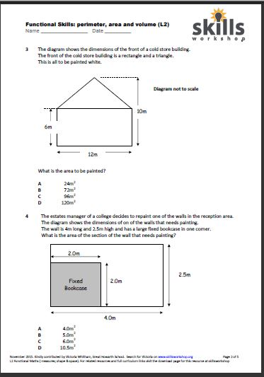 Functional Maths L2 Perimeter Area And Volume Multiple Choice Worksheet on Functional Skills L2 Maths Worksheets