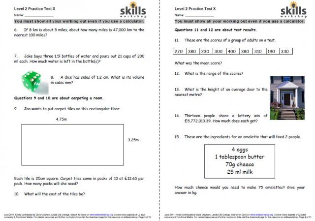 Practice L2 numeracy test : Skills Workshop