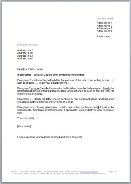 Functional Skills Level  Letter Writing
