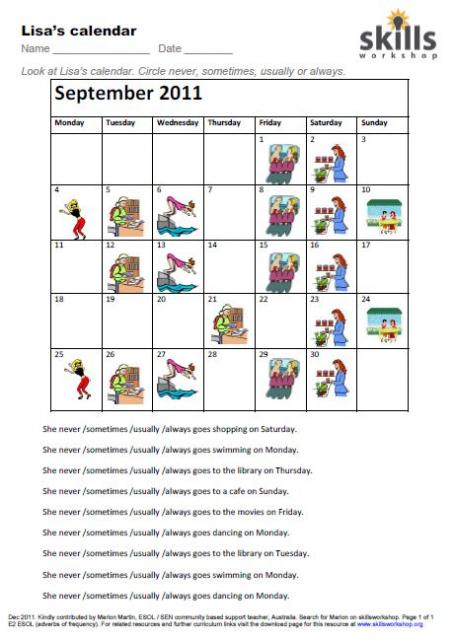 Lisas Calendar Adverbs Frequency on Pre Writing Skills Worksheet