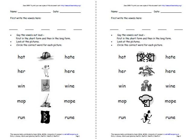 Printables Long And Short Vowel Worksheets long and short medial vowels skills workshop phonics worksheets students to practise link pictures with the correct word