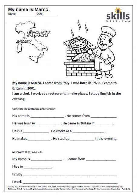 Worksheet Beginner Reading Worksheets rte1 1 skills workshop a short reading text for beginners followed by fill the gap sentences two sheets one british students and australian students